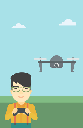 operating: An asian man flying drone with remote control. Man operating a drone with remote control. Man controling a drone. Vector flat design illustration. Vertical layout. Illustration