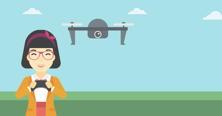 vector control illustration: An asian woman flying drone with remote control. Happy woman operating a drone with remote control. Woman controling a drone. Vector flat design illustration. Horizontal layout.