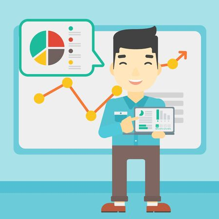 asian business meeting: An asian businessman pointing at the charts on laptop screen. Man presenting report with a laptop on the background of board with graph. Vector flat design illustration. Square layout.