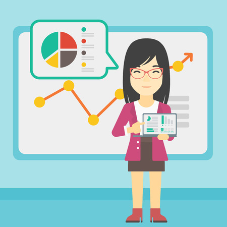asian business meeting: An asian business woman pointing at charts on laptop screen. Woman presenting report with a laptop on the background of board with graph. Vector flat design illustration. Square layout. Illustration