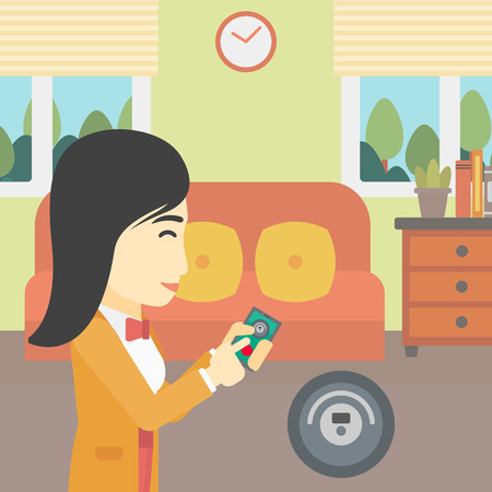 An asian woman controlling robot vacuum cleaner with smartphone. Woman holding remote control of robotic vacuum cleaner in living room. Vector flat design illustration. Square layout. Illustration