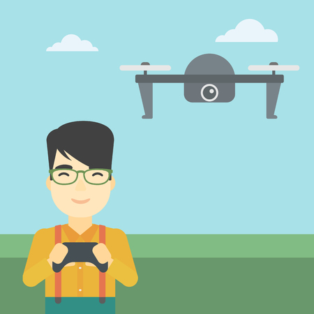 vector control illustration: An asian man flying drone with remote control. Man operating a drone with remote control. Man controling a drone. Vector flat design illustration. Square layout.