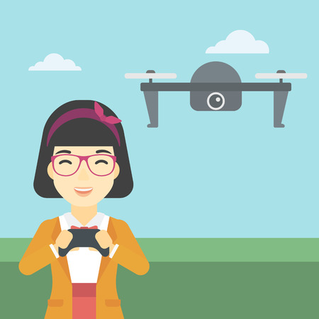 vector control illustration: An asian woman  flying drone with remote control. Happy woman operating a drone with remote control. Woman controling a drone. Vector flat design illustration. Square layout.