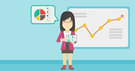 asian business meeting: An asian business woman pointing at charts on laptop screen. Woman presenting report with a laptop on the background of board with graph. Vector flat design illustration. Horizontal layout.