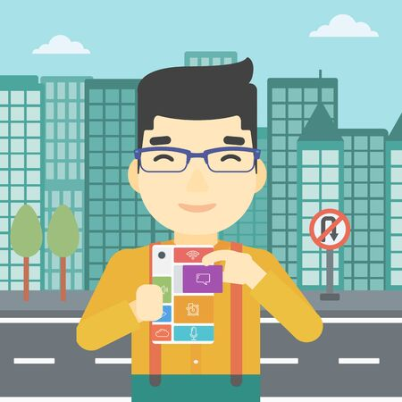 rebuild: An asian man holding modular phone. Young man with modular phone on a city background. Man using modular phone. Vector flat design illustration. Square layout.