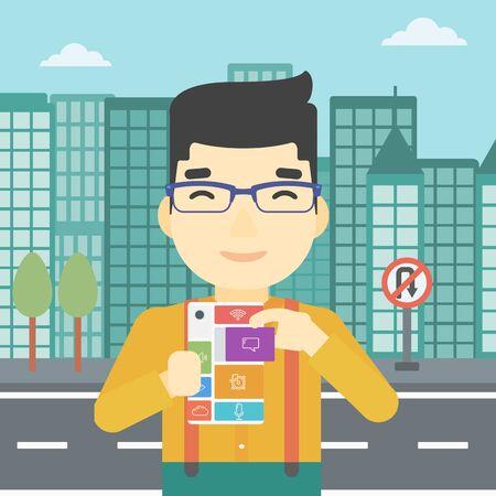 modular: An asian man holding modular phone. Young man with modular phone on a city background. Man using modular phone. Vector flat design illustration. Square layout.