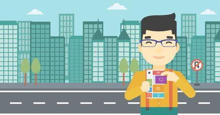 modular: An asian man holding modular phone. Young man with modular phone on a city background. Man using modular phone. Vector flat design illustration. Horizontal layout.