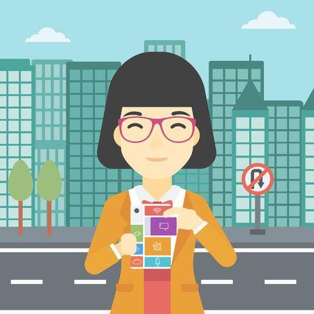 An asian woman holding modular phone. An asian woman with modular phone standing on a city background. Woman using modular phone. Vector flat design illustration. Square layout.