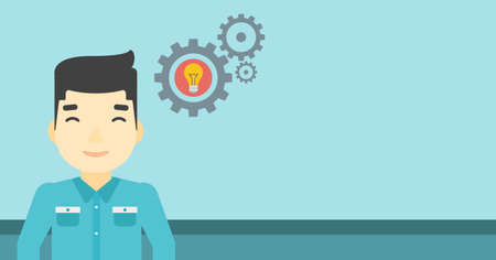 An asian man with business idea bulb in gear. Young businessman having a business idea. Successful business idea concept. Vector flat design illustration. Horizontal layout.