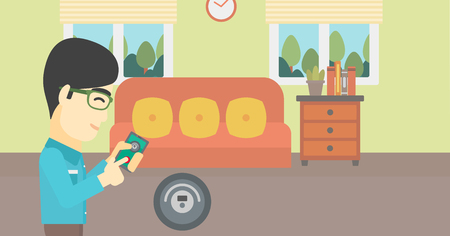 controlling: An asian man controlling robotic vacuum cleaner with his smartphone in the living room. Vector flat design illustration. Horizontal layout.