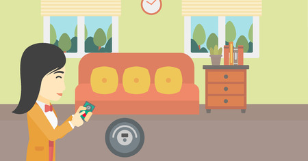 controlling: An asian woman controlling robot vacuum cleaner with smartphone. Woman holding remote control of robotic vacuum cleaner in living room. Vector flat design illustration. Horizontal layout.
