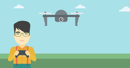 controling: An asian man flying drone with remote control. Man operating a drone with remote control. Man controling a drone. Vector flat design illustration. Horizontal layout.