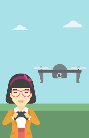 vector control illustration: An asian woman flying drone with remote control. Happy woman operating a drone with remote control. Woman controling a drone. Vector flat design illustration. Vertical layout. Illustration