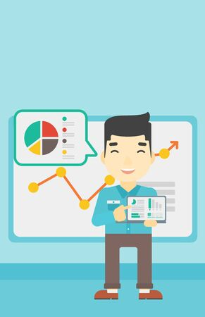 asian business meeting: An asian businessman pointing at the charts on laptop screen. Man presenting report with a laptop on the background of board with graph. Vector flat design illustration. Vertical layout.