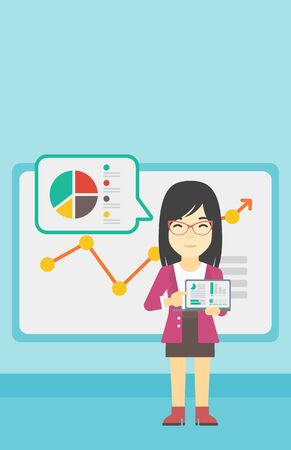 business meeting laptop: An asian business woman pointing at charts on laptop screen. Woman presenting report with a laptop on the background of board with graph. Vector flat design illustration. Vertical layout. Illustration