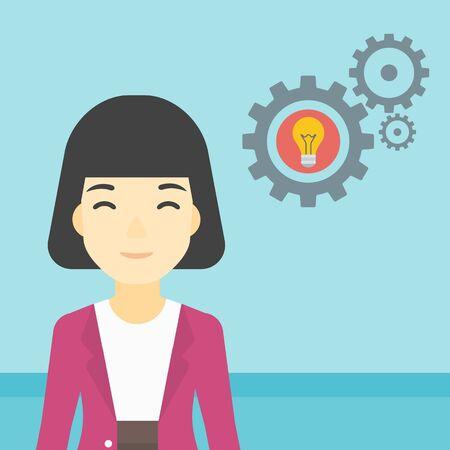 asian business: An asian business woman having a business idea. Successful business idea concept. Business woman with business idea bulb in gear. Vector flat design illustration. Square layout.