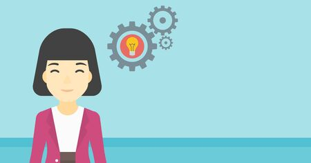 asian business: An asian business woman having a business idea. Successful business idea concept. Business woman with business idea bulb in gear. Vector flat design illustration. Horizontal layout.