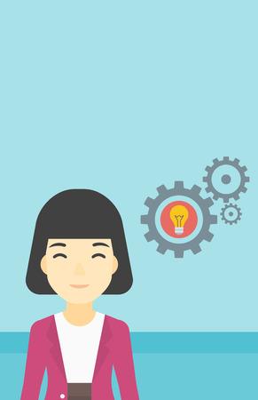 asian business: An asian business woman having a business idea. Successful business idea concept. Business woman with business idea bulb in gear. Vector flat design illustration. Vertical layout. Illustration