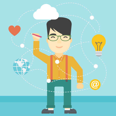 writing on screen: An asian man writing on a virtual screen. Businessman drawing a cloud computing diagram on a virtual screen. Cloud computing concept. Vector flat design illustration. Square layout. Illustration