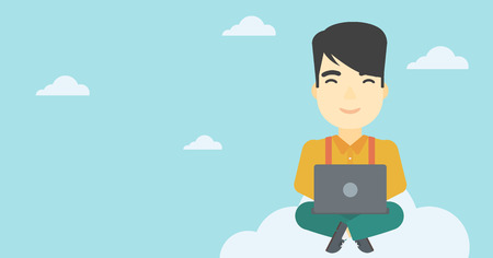 asian man laptop: An asian man sitting on a cloud with a laptop on his knees. Happy man using cloud computing technology. Cloud computing concept. Vector flat design illustration. Horizontal layout.