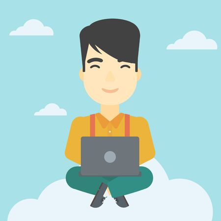 asian man laptop: An asian man sitting on a cloud with a laptop on his knees. Happy man using cloud computing technology. Cloud computing concept. Vector flat design illustration. Square layout.