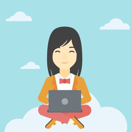 An asian woman  sitting on a cloud with a laptop on her knees. Happy woman using cloud computing technology. Cloud computing concept. Vector flat design illustration. Square layout. Illustration