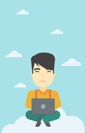 asian man laptop: An asian man sitting on a cloud with a laptop on his knees. Happy man using cloud computing technology. Cloud computing concept. Vector flat design illustration. Vertical layout. Illustration