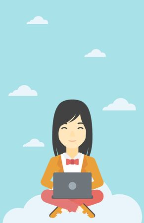 woman laptop happy: An asian woman sitting on a cloud with a laptop on her knees. Happy woman using cloud computing technology. Cloud computing concept. Vector flat design illustration. Vertical layout.