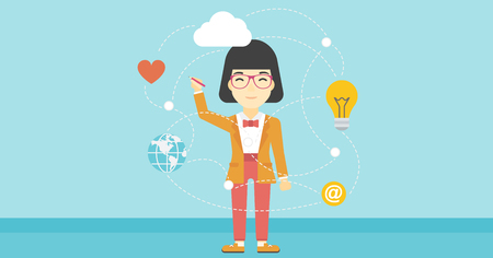 human touch: An asian woman writing on a virtual screen. Business woman drawing a cloud computing diagram on a virtual screen. Cloud computing concept. Vector flat design illustration. Horizontal layout.