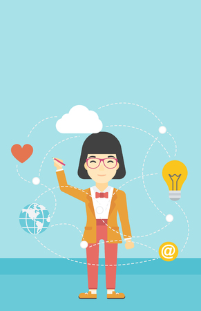 writing on screen: An asian woman writing on a virtual screen. Business woman drawing a cloud computing diagram on a virtual screen. Cloud computing concept. Vector flat design illustration. Vertical layout. Illustration