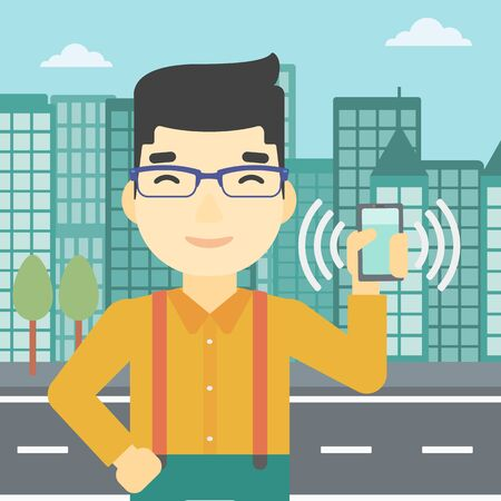 ringing: An asian man holding ringing mobile phone on a city background. Man answering a phone call. Man with ringing phone in hand. Vector flat design illustration. Square layout.