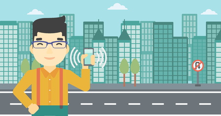 ringing: An asian man holding ringing mobile phone on a city background. Man answering a phone call. Man with ringing phone in hand. Vector flat design illustration. Horizontal layout.