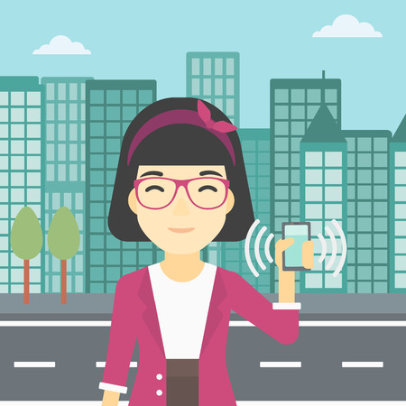 answering: An asian woman holding ringing mobile phone on a city background. Woman answering a phone call. Woman with ringing phone in hand. Vector flat design illustration. Square layout.