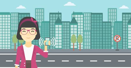 answering: An asian woman holding ringing mobile phone on a city background. Woman answering a phone call. Woman with ringing phone in hand. Vector flat design illustration. Horizontal layout.