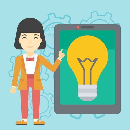 An asian woman  pointing at a big tablet computer. Woman standing near a big tablet computer with a light bulb on a screen. Vector flat design illustration. Square layout.