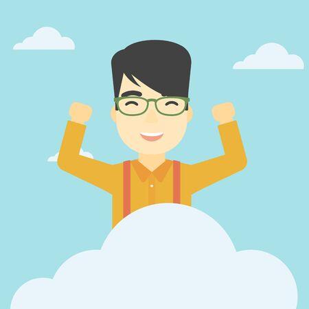 manos levantadas al cielo: Un hombre feliz asiático con las manos levantadas sentado en una nube en el fondo de cielo azul. concepto de computación en la nube. Vector de diseño plano ilustración. de planta cuadrada.