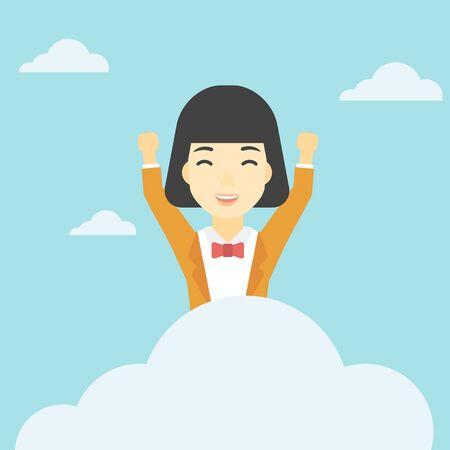 manos levantadas al cielo: Una mujer asi�tica feliz con las manos levantadas sentado en una nube en el fondo de cielo azul. concepto de computaci�n en la nube. Vector de dise�o plano ilustraci�n. de planta cuadrada.