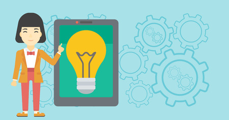 basic shape: An asian woman pointing at a big tablet computer. Woman standing near a big tablet computer with a light bulb on a screen. Vector flat design illustration. Horizontal layout. Illustration