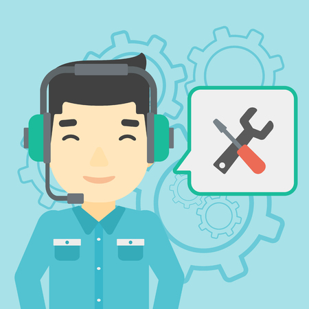 technical assistant: An asian operator of technical support wearing headphone set. Technical support operator and speech square with screwdriver and wrench. Vector flat design illustration. Square layout.