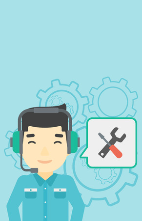 customer service phone: An asian operator of technical support wearing headphone set. Technical support operator and speech square with screwdriver and wrench. Vector flat design illustration. Vertical layout. Illustration