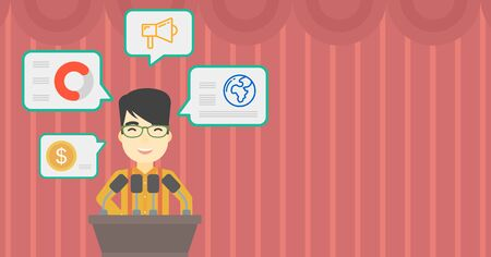 asian business meeting: An asian speaker standing at podium with microphones at business conference. Speaker giving speech at podium and speech squares around him. Vector flat design illustration. Horizontal layout.