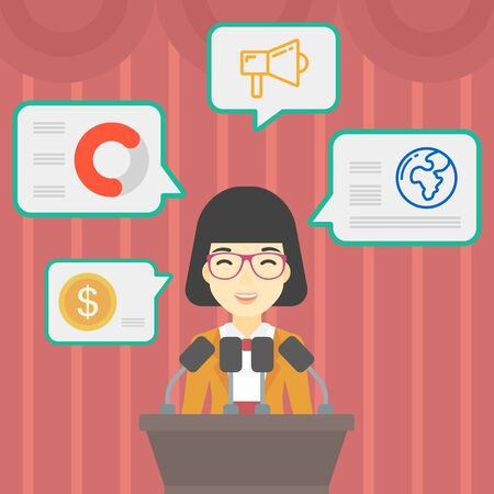 asian business meeting: An asian speaker standing on a podium with microphones at business conference. Woman giving speech at podium and speech squares around her. Vector flat design illustration. Square layout.