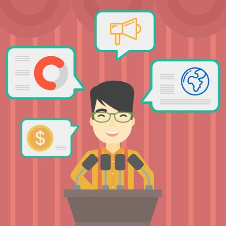 business conference: An asian speaker standing at podium with microphones at business conference. Speaker giving speech at podium and speech squares around him. Vector flat design illustration. Square layout.