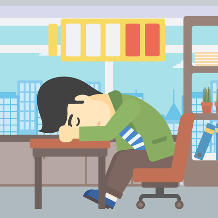 An asian man sleeping at workplace on laptop keyboard and low power battery sign over his head. Man sleeping in the office. Vector flat design illustration. Square layout.