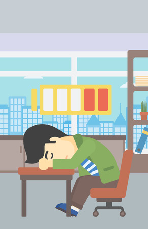 asian man laptop: An asian man sleeping at workplace on laptop keyboard and low power battery sign over his head. Man sleeping in the office. Vector flat design illustration. Vertical layout. Illustration