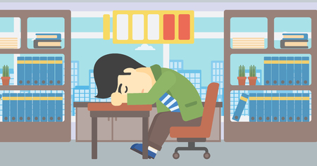 asian man laptop: An asian man sleeping at workplace on laptop keyboard and low power battery sign over his head. Man sleeping in the office. Vector flat design illustration. Horizontal layout.