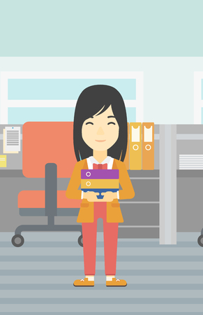 An asian business woman standing with pile of folders in the office. Business woman carrying stack of folders. Vector flat design illustration. Vertical layout.