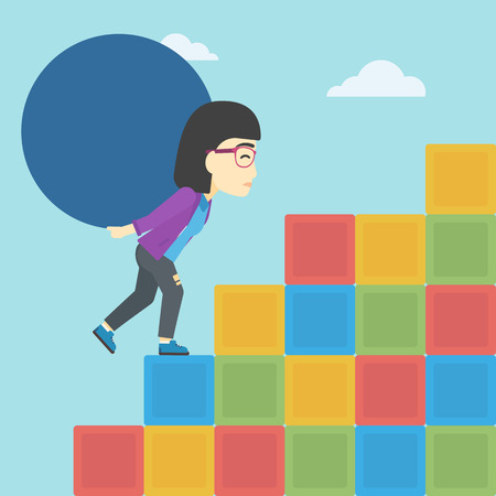 An asian woman rising up on the colored cubes and carrying a big stone on her back. Woman with huge concrete ball going up. Vector flat design illustration. Square layout. Illustration