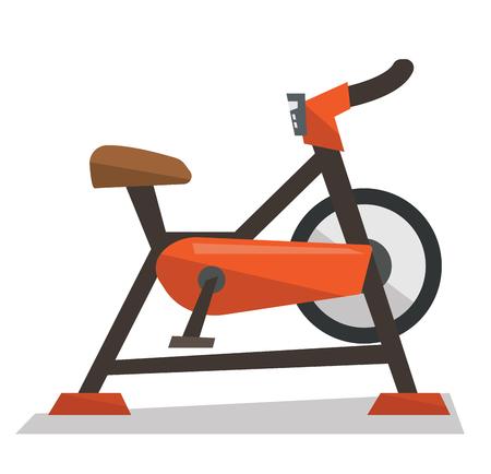 Stationary exercise bike vector flat design illustration isolated on white background.