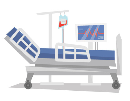 heartbeat monitor: Hospital bed with drop counter and heartbeat monitor vector flat design illustration isolated on white background.
